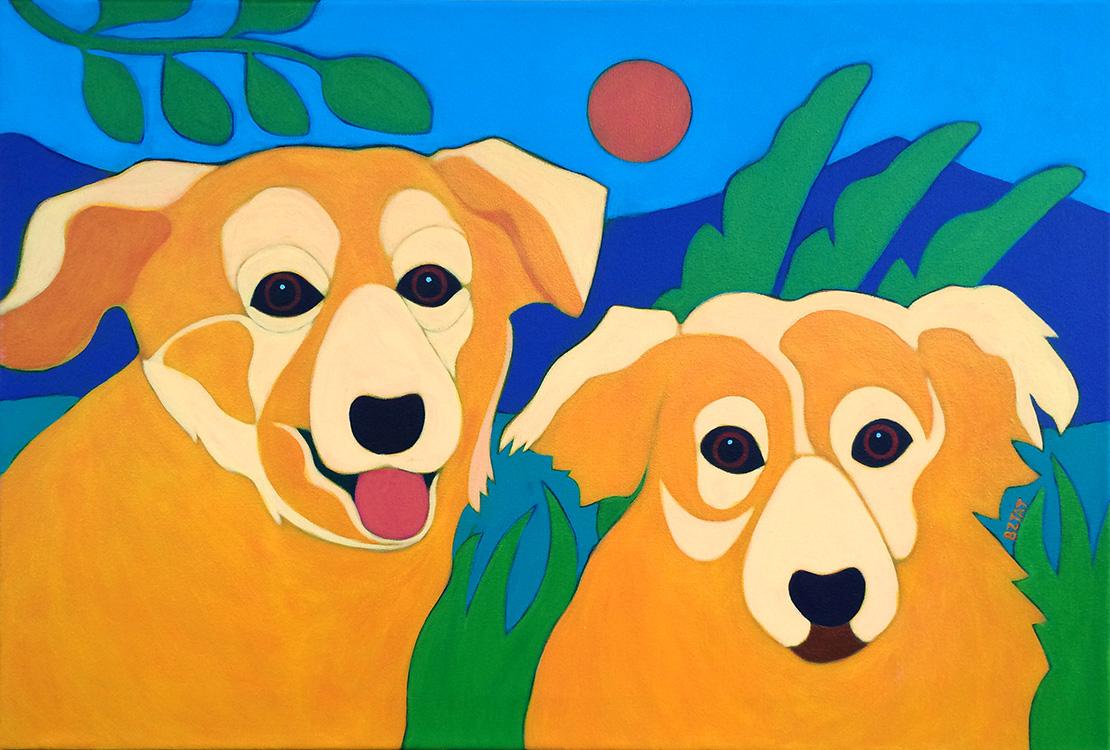 Two Golden Dogs Pet Portrait Painting by Artist BZTAT