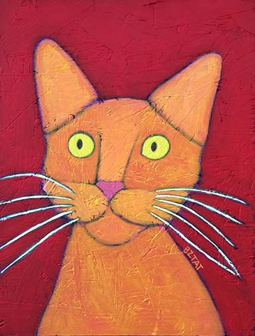 Orange Cat Contemporary Folk Art Portrait Painting by Artist BZTAT