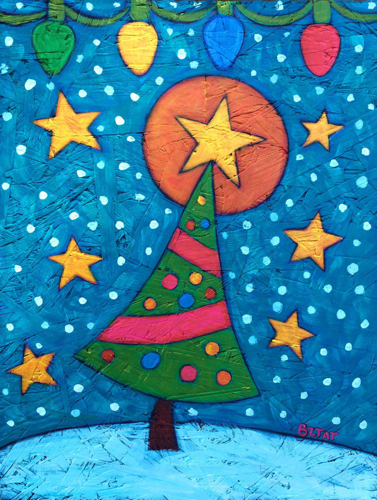 Christmas 2016 tree contemporary folk art painting by BZTAT