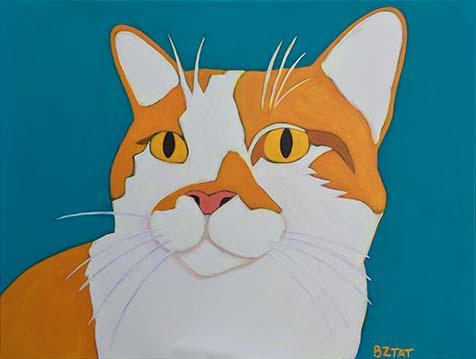 Brewskie Butt Custom Cat Portrait Painting by Artist BZTAT