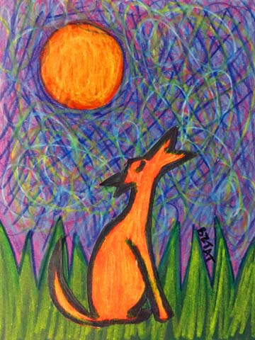 """Howling at the Moon"" Dog drawing by BZTAT"
