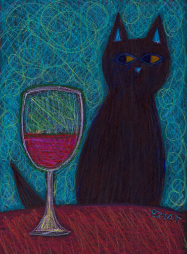 """Fine Feline Wine"" Drawing by BZTAT"