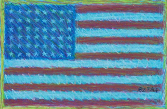 """Service Above Self"" American Flag Drawing by BZTAT"